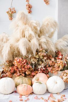 Here's where our heads are at for post-Halloween fall home decor, starting with a throwback to this feminine fall birthday party our Kristina whipped up a couple years back. Faux Pumpkins, White Pumpkins, Fall Home Decor, Autumn Home, Thanksgiving Decorations, Table Decorations, Fall Birthday Parties, Flower Places, Home And Living