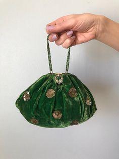 art deco emerald green velvet evening bag | 20s 30s handbag rhinestone clasp | sequin and    velvet bag