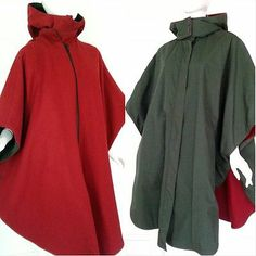 The Woolrich Woman Burgundy Wool Green Reversible Hooded Cape One Size Reg USA | eBay