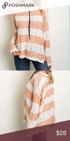 """PEACH AND WHITE STRIPED LIGHTWEIGHT TOP S/M-M/L 🍑Peach and white long sleeve striped light weight knit loose fitting sweater. Super comfy and so easy to throw on. Cute trim around the sleeves and the bottom. Wear with your favorite bralette or cami. Perfect transitional piece. Sizes S/M  Bust is 25"""" across the front and Length is 23"""". M/L. Bust is 26"""" across the front and Length is 25"""". 100%Acrylic🍑 Boutique Tops"""