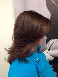 Medium Length haircut. New mocha shades by L'oreal. Color by Catherine and Cut by Aimee. cool hair, latest hair trend, blow dry, hair stylist, hair color, color trends, Fiorio Hair
