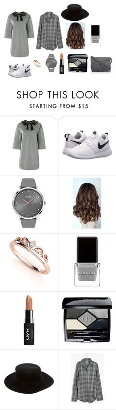 """""""Outfit of the day????"""" by jefferfer ❤ liked on Polyvore featuring Gucci, NIKE, BOSS Black, Context, NYX, Christian Dior, Janessa Leone, Madewell and Jérôme Dreyfuss"""