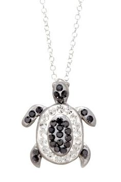 Sterling Silver Black & Clear Crystal Turtle Necklace