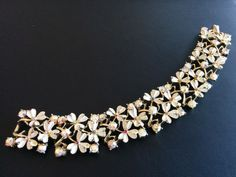 Signed CORO Vintage Bracelet Flower Leaf Enamel AB Rhinestone Gold Tone 3191