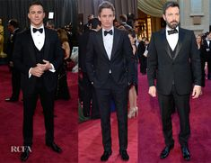 2013 Oscars-- Channing Tatum in Gucci made-to-order navy three-piece tux with Martin Katz studs and cufflinks. His outfit featured a classy shawl lapel and shirt studs. Eddie Redmayne in a slim-fit Alexander McQueen black tuxedo with wide peak lapels with gold studs and black tuxedo slippers.   Ben Affleck wore a Gucci black three-piece tuxedo that featured peak lapels.