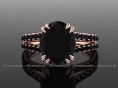 Oval 3.00 Carat Black Diamond Engagement Ring, Split Shank 18K Rose Gold Natural…