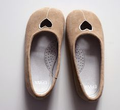 Nude Ballerinas made from goatskin with openwork heart by EFVVA