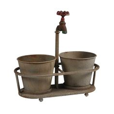 HOME DECOR – ART – ACCENT – Duo Planter with Faucet. A whimsical touch to your favorite plants, this aged metal planter tops two pots with an antique-style faucet. Metal Planters, Planter Pots, Planter Garden, Rustic Planters, Vertical Planter, Indoor Outdoor, Outdoor Living, Outdoor Decor, Outdoor Stuff