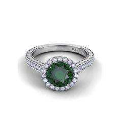 Style TM124-EM, Danhov Tubetto single shank engagement ring with emerald center stone, $3,160, Danhov