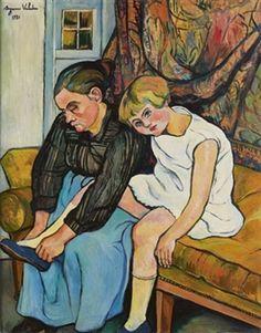 GRAND-MÈRE CHAUSSANT UNE FILLETTE By Suzanne Valadon ,1931