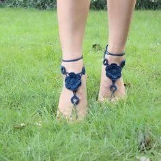 Algodón para el tobillo pulsera sandalias descalzas tobilleras ganchillo para para decoración pie BC145(China (Mainland))