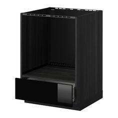 METOD/FÖRVARA Base cabinet for oven with drawer - wood effect black, Ringhult high-gloss black - IKEA