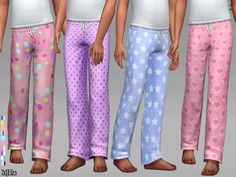 -Some cute pj bottoms for your child to mix and match with any tops. Found in TSR Category 'Sims 4 Female Child Sleepwear'