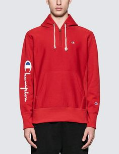 - Champion Reverse Weave - Sleeve Logo Half Zip Hoodie - Half-zip style hooded sweater - Pullover with tiny signature brand logo at front - Adjustable drawstring - Kangaroo pocket - Regular fit - Main Color: Red - Cotton Hooded Sweater, Hooded Jacket, Nike Half Zip, Red Hoodie, Weave, Champion, Street Wear, Pullover, Hoodies