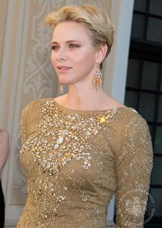 13 June 2016 - Princess Charlene and Prince Albert II hold a reception for Tv Festival - dress by Ralph Lauren