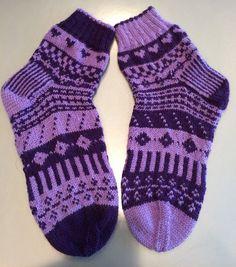 Hand Knit Fair Isle Merino Wool Socks, Ultra Violet Womens Socks in a Reverse Pattern. One of A Kin Purple Socks, Merino Wool Socks, Womens Socks, Indigo, Handmade Clothes, Handmade Items, Handmade Gifts, Girls Socks, Purple Fashion