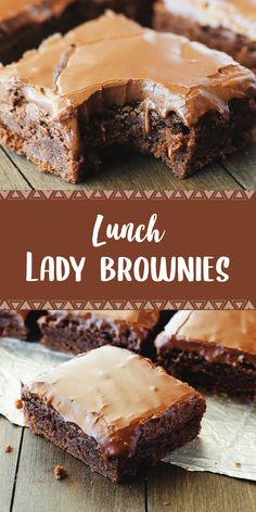 Lunch Lady Brownies are moist, full of chocolate flavor and absolutely delicious. They're like the ones the lunch ladies served for school lunch dessert, but I think this homemade version is better! Köstliche Desserts, Best Dessert Recipes, Delicious Desserts, Yummy Food, Healthy Recipes, Lunch Recipes, Easy Recipes, Tasty, Lunch Lady Brownies