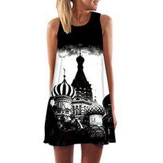 Oferta: 2.99€ Dto: -70%. Comprar Ofertas de Honghu Mujer Elegante Vestido de Verano Casual Maxi Mini Vestido de Fiesta Noche de Impresion Dress Tamaño L Blanco&Negro barato. ¡Mira las ofertas!