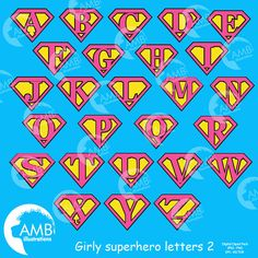Supergirl alphabet, Girly superhero letters clipart, pink and yellow superhero letters, superhero digital clipart, instant download AMB-1884