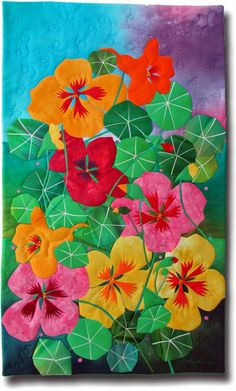 """Nasturtiums, 19 x 32"""", by Melody Johnson   Fibermania. Hand dyed cottons, fused, hand embroidered, machine quilted."""