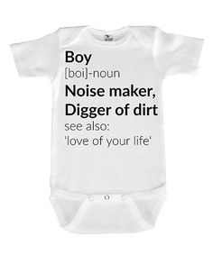 Look at this #zulilyfind! White & Black 'Boy' Definition Bodysuit - Infant #zulilyfinds