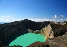 Volcanic crater lakes on Gunung Kelimutu, (photo by pablopicasso) Flores Indonesia