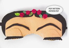 Frida Khalo Sleep Mask Women Artist Mexican Sleepwear by lovelyart, This is inspired in the famous artist Frida Khalo This is my own creation. Carefully sewn and decorated with love. Perfect to dream in the heaven. Felt Diy, Felt Crafts, Felt Patterns, Sewing Patterns, Felt Mask, Diy Gifts, Handmade Gifts, Crafty Craft, Crafting