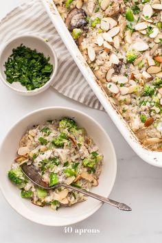 This Whole30 casserole is a perfect Whole30 fall recipe, made with chicken, broccoli, cauliflower rice, and mushrooms. Warm, comforting, and filling!