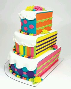 Colourful stripey birthday cake. Check out our other birthday party ideas: https://secure.zeald.com/under5s/results.html?q=birthday+part