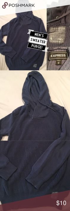 Men's hooded sweater Medium EXPRESS $10 or 5/$40 This is a super soft sweater made by express, size medium. 100% cotton. Some piling but definitely lots of where left.  I am doing a major purge of my husband's closet this week. Mostly size medium, some size large. I am running a special right now that I will sell all items for $10 each or five for $40! If you are interested in more than five items, bundle them and get an even better deal. Express Sweaters