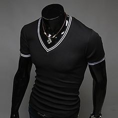 Men's Short Sleeve T-Shirt , Others Casual Pure - USD $ 8.99