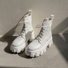 Lace Up Ankle Boots, White Boots, Calf Boots, Ankle Combat Boots, Chunky Boots, Chunky White Shoes, Off White Shoes, Edgy Shoes, Cute Shoes Boots
