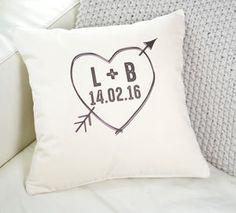 Personalised Love Heart Cushion - 2nd anniversary: cotton