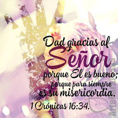 1 Crónicas 16:34 Aclamad a Jehová, porque él es bueno; Porque su misericordia es eterna. ♔
