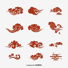 Japanese Yun Cai Nuage Xiang Yun Source Document Design Vecteur et PNG Chinese Patterns, Japanese Patterns, Japanese Cloud Tattoo, Design Chinois, Japanese Art Modern, Cloud Drawing, Vector Art, Vector File, Haida Art