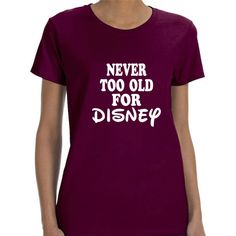 Disney Family Shirts Disney Shirts Teen Girl Gifts for Grandma Disney... ($15) ❤ liked on Polyvore featuring tops, t-shirts, maroon, women's clothing, purple shirt, maroon shirt, sports t shirts, heavy t shirts and ribbed tee