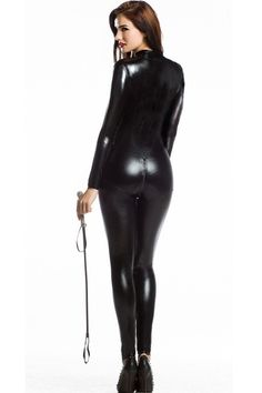 bd97ccc1e3 Sexy Women Faux Leather Metallic PVC Fetish Gothic Catsuit   Bodysuit  Wetlook Latex Jumpsuit Bondage Harness Costumes