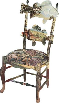 McKenzie Childs Forrest Fish Chair  I have just always loved this unusual chair.  Would love to have just one.