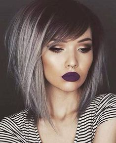 Platinum ombre A-line stacked bob