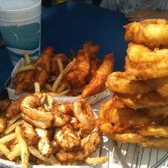 Fish & Chips, Calamari & Chips, and onion rings at Andrea's Seafood Ventura Harbor
