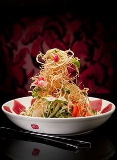 Singaporean Style Slaw w/ Tuna Sashimi - One of many things to try at Susur Lee's restaurants, Toronto, ONT.