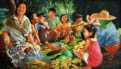 Family Feast: Dante D. Philippine Art, Philippine Houses, Church Backgrounds, Filipino Culture, Painting People, Contemporary Paintings, Black Art, Philippines, Cute Pictures