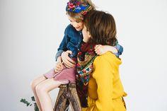 Duo Folk et Gipsy by Le Bazar des poupées Russes  #duo#merefille#foulardfolk#bordeaux#bleu#mumandgirl