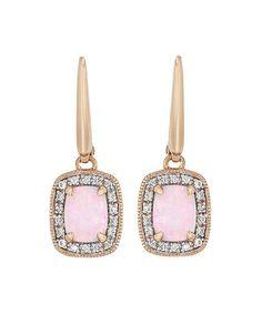 Opal & White Sapphire Elongated Cushion-Cut Drop Earrings #zulily #zulilyfinds