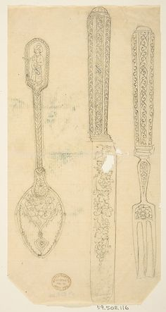 Design for Silverware: Spoon, Knife, and Fork  Anonymous, French, 19th century
