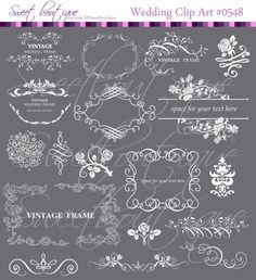 WHITE Vintage Flourish Frames Clip Art Digital von MSweetboutique