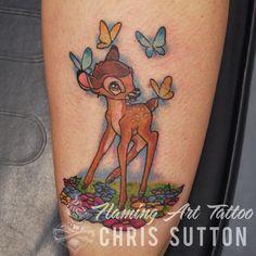 #disney #disneytattoo #bambi #animation #cartoon #colour #tattoo #tattoos #custom #design #art #artist #tattooartist #illustration #london #england #chrissutton