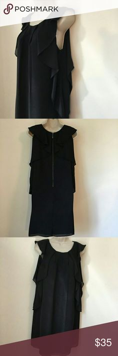 Vince Camuto ruffle dress Beautiful black ruffle dress, in great condition, make an offer😊 Vince Camuto Dresses