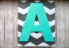 "Nursery Decor or Child's Room 8x10 Grey Chevron Monogram wall hanging with teal letter. ""A"" wall art. on Etsy, $24.00"