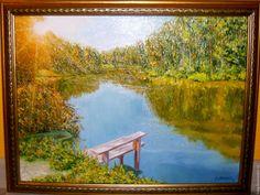 """Купить """"Солнечное озеро"""". Авторская картина маслом на холсте - картина в подарок, картина для интерьера"""